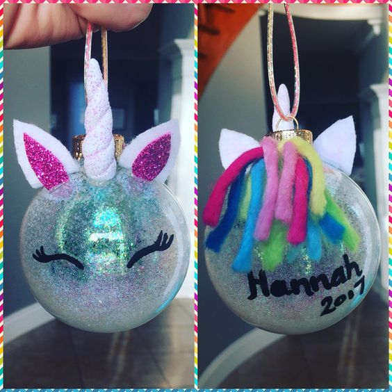 Glitter DIY Unicorn Christmas ornaments