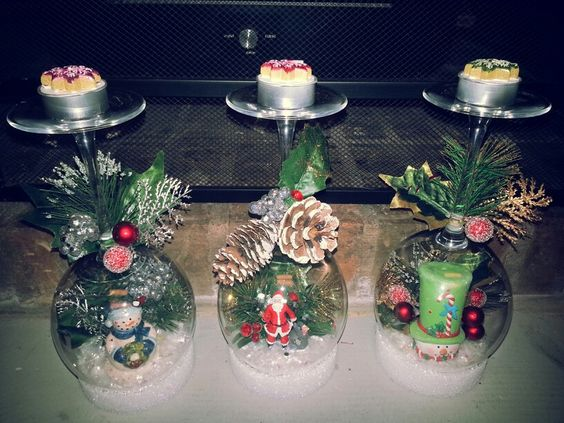 Wine glass snow Globes with pine cones