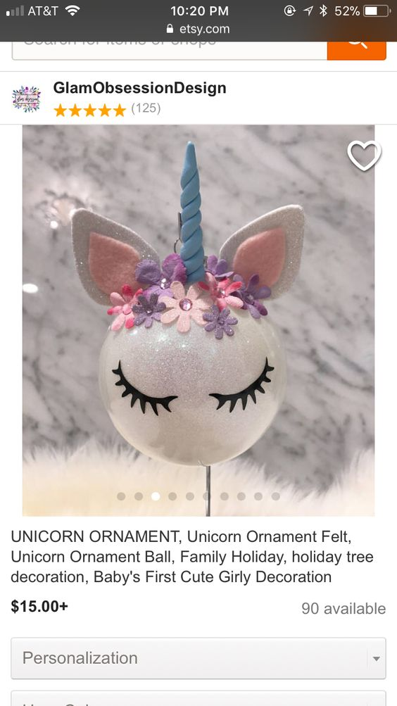Glitter Unicorn Ornament