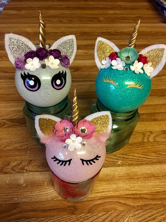 Pink White & Blue Glitter Unicorn Ornaments