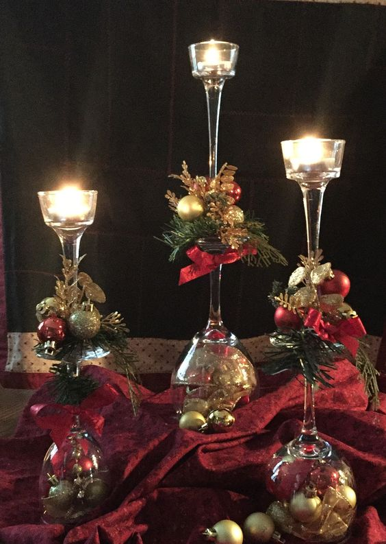 Red & Gold Christmas Centerpiece