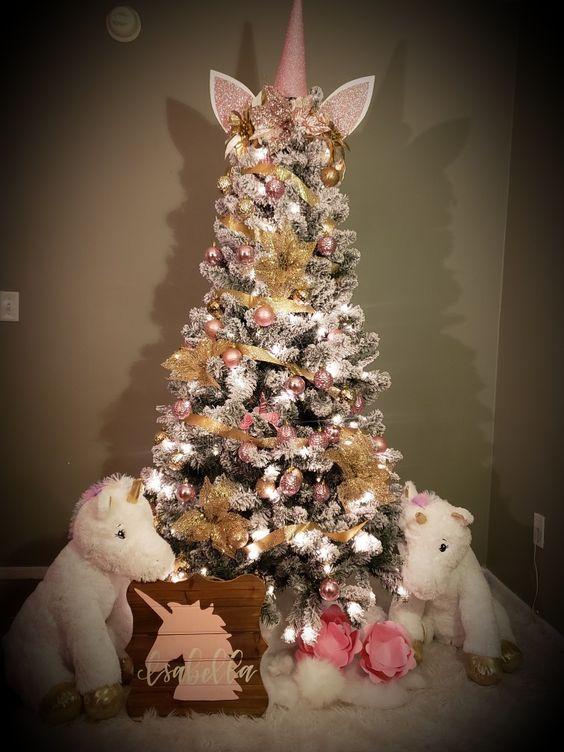 Rose gold unicorn Christmas tree