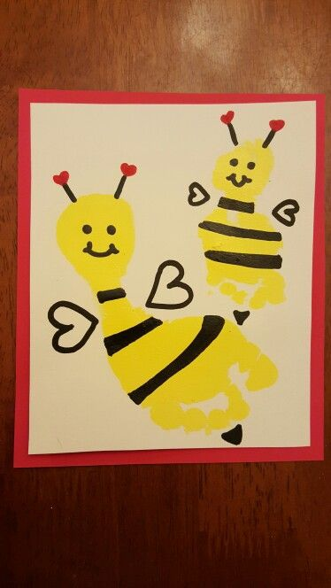 Bee Our Valentine, footprint art
