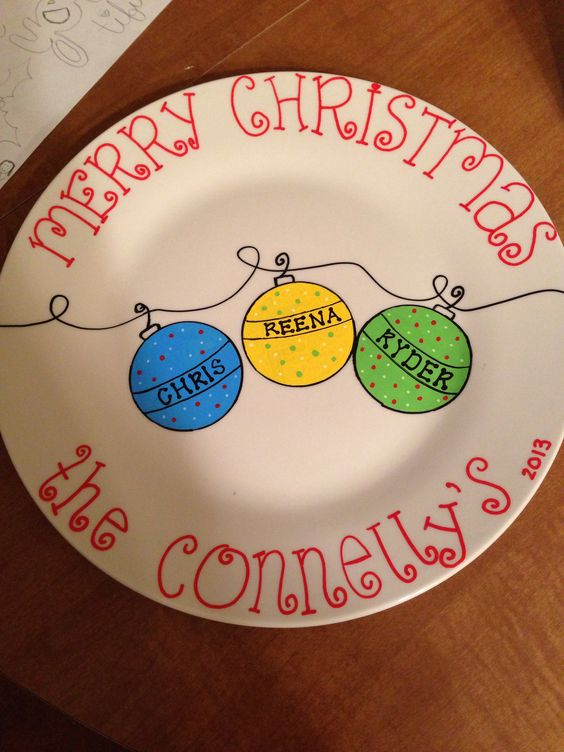 Family Christmas Plate
